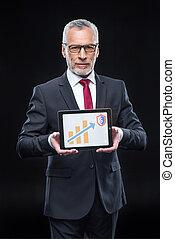 businessman wild digital tablet
