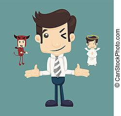 Businessman wills with devil and an angel , eps10 vector...