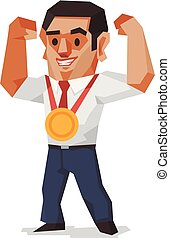 Businessman win the gold medal, Business concept, Vector illustration.