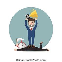 businessman winner from time illustration