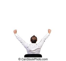 businessman winner on white background