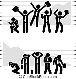 A set of stick figure people pictograms representing winner and losers in stock market with a graph or chart on the back.