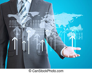 Businessman with 3d world map model