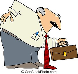 This illustration depicts a businessman bent over with a sore back.