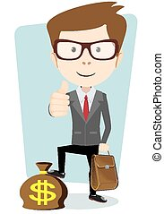 Businessman with a bag of currency