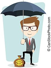 Businessman with a bag of currency, vector illustration