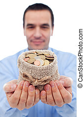 Businessman with a bag of euro coins