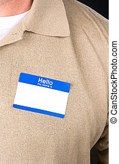 Businessman with a blank nametag