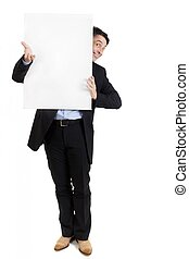 Businessman with a blank white sign