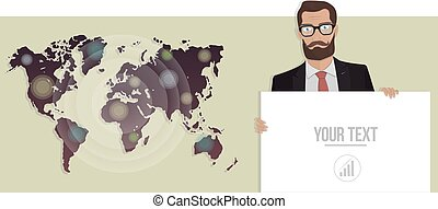 Businessman with a board and map of the world. Vector illustration for website.
