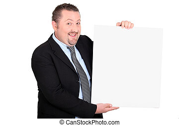 Businessman with a board left blank for your message