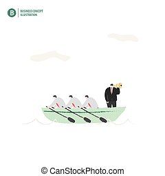 Businessman with a boat in the ocean meaning teamwork and vision of leader on white background illustration vector. Business concept.