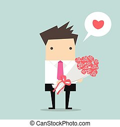 Businessman with a bouquet
