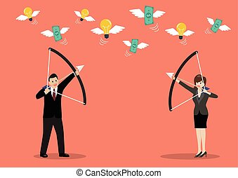 Businessman with a bow and arrow hitting the money fly