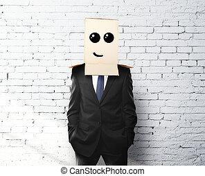 businessman with a box on head
