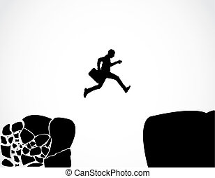 Businessman with a briefcase jumping from a crumbing ...