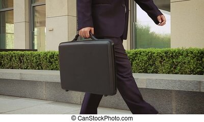 Businessman with a briefcase Walking on Streets of Business...