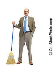 Businessman with a broom