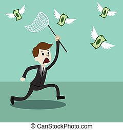 Businessman with a butterfly net trying to catch money.