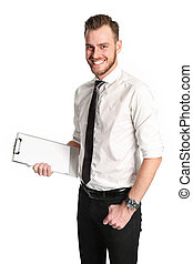 Businessman with a clipboard