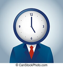 Businessman With a Clock as His Head