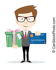 businessman with a credit card and gift