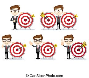 Businessman with a dart board with a direct hit on target .