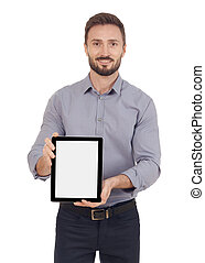 Businessman with a digital tablet