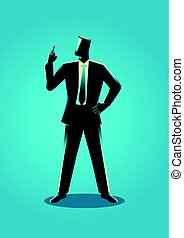 Businessman with a finger pointed up
