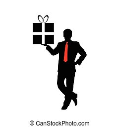 businessman with a gift vector