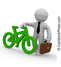 Businessman with a green bike icon, 3d rendering
