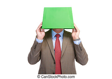 Businessman with a green box on a head