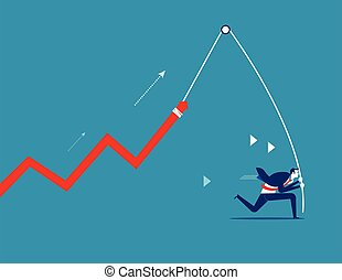 Businessman with a growing chart. Concept business strategy vector.