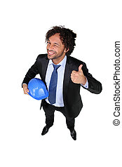 Businessman with a hardhat and the thumbs up