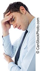 Businessman with a headache on white background
