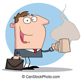 Businessman With A Hot Cup Of Coffe