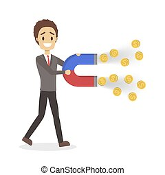 Businessman with a huge magnet attracting money
