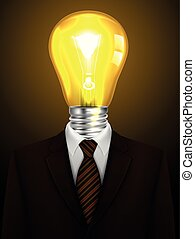 Businessman with a lamp head, Creative idea