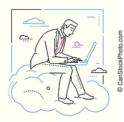 Businessman with a laptop - line design style illustration