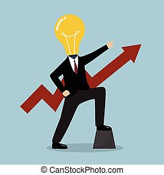 Businessman with a light bulb head and graph up