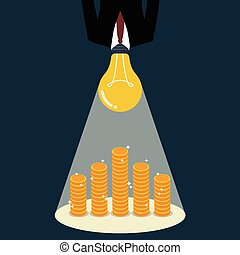 Businessman with a light bulb head glow to the money