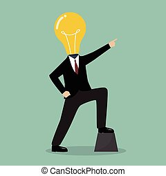 Businessman with a light bulb head pointing up