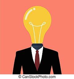 Businessman with a light bulb instead of head
