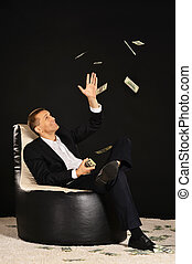 Businessman with a lot of money