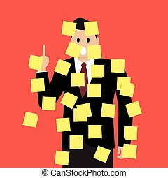 Businessman with a lot of sticky notes. Vector Illustration