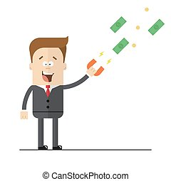 Businessman with a magnet to attract money. Isolated illustration on white background . Flat image