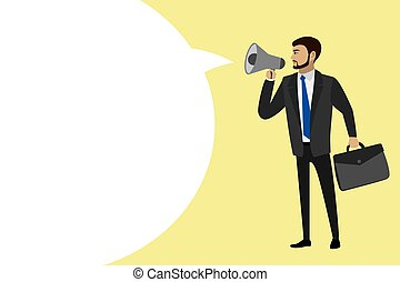 businessman with a megaphone and big speech bubble