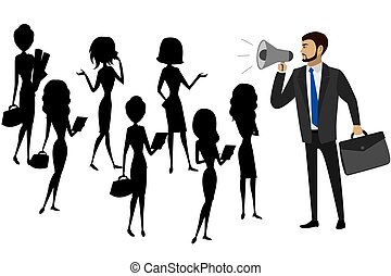 Businessman with a megaphone and silhouettes of women, teamwork