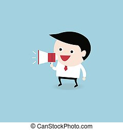 businessman with a megaphone, Business concept, vector