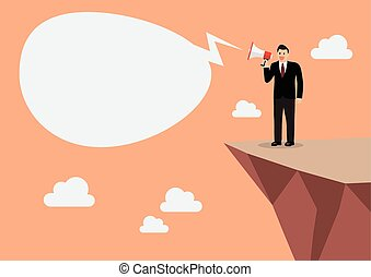 Businessman with a megaphone on the cliff